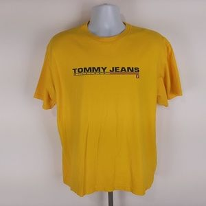 Tommy Jeans Men's T-shirt Size Large Yellow Tommy